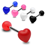 5 Surgical Steel 14g Barbells with UV Heart Tops  Surgical Steel 14g Barbells
