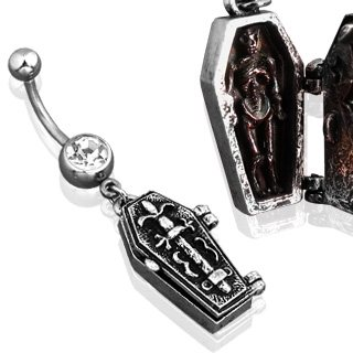 Gothic Single Gem Hinged Coffin Belly Ring Body Jewelry
