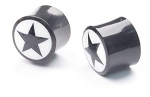 1 Pair Saddle Plugs with Bone with Star Inlay Design