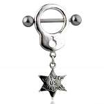 1 Pair Handcuff Badge Nipple Shield Rings