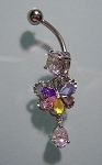 Fancy Navel Belly Ring w Multi-color CZ Gem Butterfly Dangle