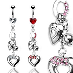 Prong Set Heart Gem Navel Belly Ring with Multi Charmed Dangle