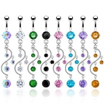 Multiple CZ Gem Vine Belly Ring Dangle Body Jewelry