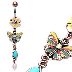 Vintage Fimo Flower Butterfly Navel Ring Dangle Body Jewelry