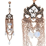 Vintage Design with Opal Colored Beads Belly Ring Body Jewelry