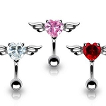 Winged Angel Heart Top Down Belly Ring Body Jewelry