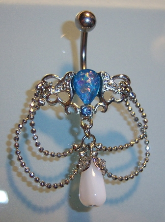 Synthetic opal chandelier fancy belly ring dangle body jewelry quick view mozeypictures Images