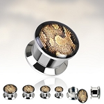 1 Pair Double Flare Screw Fit Plugs with Python Print