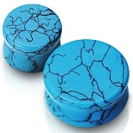 PAIR 0G SOLID TURQUOISE SEMI PRECIOUS SADDLE PLUGS