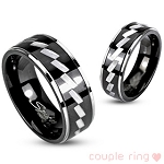 316L Stainless Steel Black IP 2 Tone Ring