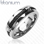 Solid Titanium Ring with Black Cable Rope Design