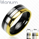 Solid Titanium with Gold Plated and Onyx Colored Edged Ring