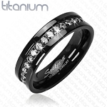Solid Titanium Band Ring with Black Cubic Zirconia Stone Band