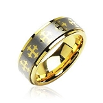 IP Gold and Brushed Ring With Cross
