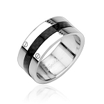 316L Stainless Steel Ring with Carbon Fiber Center
