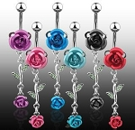 Delicate Double Metal Rose Belly Ring Body Jewelry