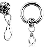 1 Pair Skull Handcuff Captive Bead Rings Wholesale Body Jewelry