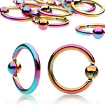1 Pair Titanium Anodized Rainbow Captive Bead Rings