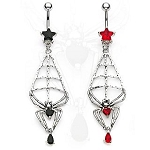 Gothic Spider In Web Belly Ring Body Jewelry 14G