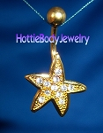 Gold Plated Starfish 14G Belly Ring Dangle Body Jewelry