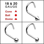 316L Surgical Steel Nose Screw in 18g or 20g sizes