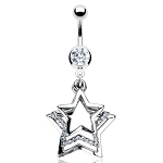 CZ Gem Navel Belly Ring with Triple Star Dangle