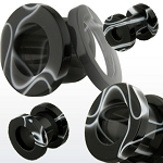 1 Pair UV Black & White Marble Screw-fit Flesh Tunnels