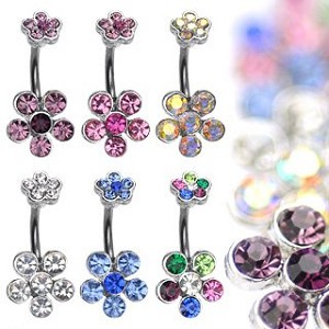 Double Flower Belly Ring Body Jewelry with 6 Cubic Zirconia Gem Dangle