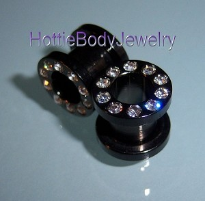 1 Pair Black Titanium Screw On Gem CZ Ear Tunnel Plugs