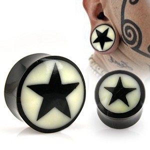 1 Pair of Natural Buffalo Horn Solid Saddle Plugs with Star Inlays