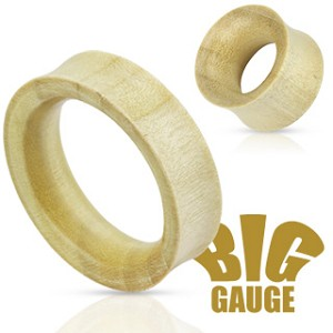 Pair Natural White Crocodile Wood Double Flared Tunnel