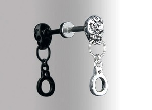 "Labret Skull with Handcuff 14g 3/8"" shaft"