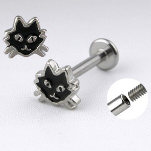 Cat face Labret 14g 3/8 inch long 316L Surgical Stainless Steel