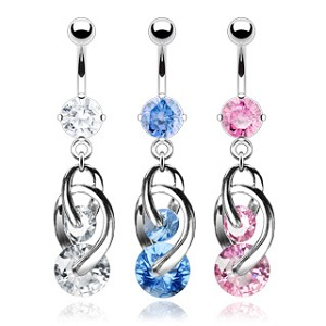 Fancy CZ Prong Set Navel with 2 Cosmo Dangles