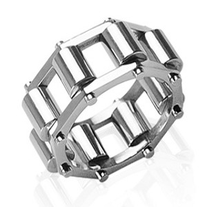 316L Stainless Steel Chain Caterpillar Ring