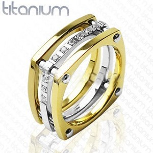 Solid Titanium Ring with IP Gold with Cubic Zirconia Stones