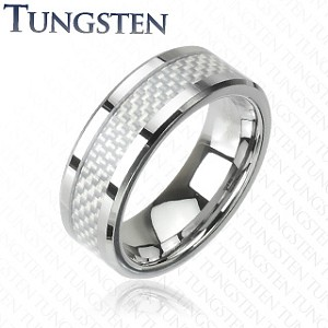 Tungsten Carbide Ring with White Carbon Fiber Center Inlay