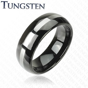 Two Tone Tungsten Carbide Ring Wedding Band