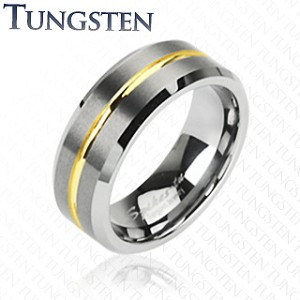 Tungsten Carbide Ring with Gold Striped Groove in Center
