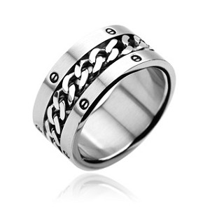 316L Stainless Steel Ring with Chain Center Bolted Rings