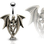 Angel of Dore Gothic Belly Ring Body Jewelry Dangle