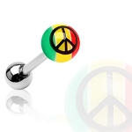 Surgical Steel Barbell UV Rasta Colored Ball with Peace Sign Print