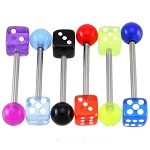 Mixed Dice Tongue Ring Barbells Wholesale Lot of 50 14g