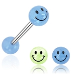 Tongue Barbell with Smile Printed Glow In The Dark Ball