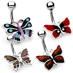 Hand Painted Butterfly Belly Ring Dangle 14G Body Jewelry