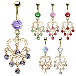 Dazzling Chandelier Style Gold Plated Fancy Navel Belly Ring Body Jewelry
