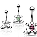 Frog Belly Ring Dangle with CZ Gems Body Jewelry