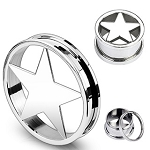 1 Pair of Steel Star Screw-Fit Ear Tunnels - sizes 8g to 00g