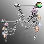 Pair of Chain Drop Dangle with Pearl + Flower Nipple Shields