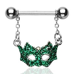 1 Pair Green Masquerade Mask Nipple Shields Body Jewelry